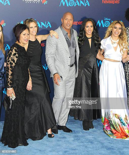 Actor Actor Dwayne Johnson and family attend AFI FEST 2016 Presented By Audi Premiere of Disney's 'Moana' at the El Capitan Theatre on November 14...