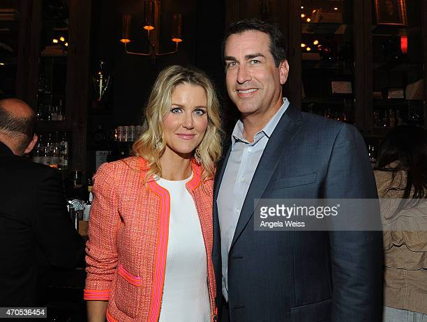 Actor Actor Rob Riggle and his wife Tiffany Riggle attend the Los Angeles Special Screening of Just Before I Go at Wood Vine on April 20 2015 in...
