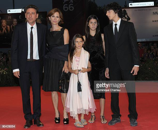 Actor Actor Sergio Castellitto his wife the Italian writer Margaret Mazzantini and children attend the 36 Vues Du Pic Saint Loup Premiere at the...