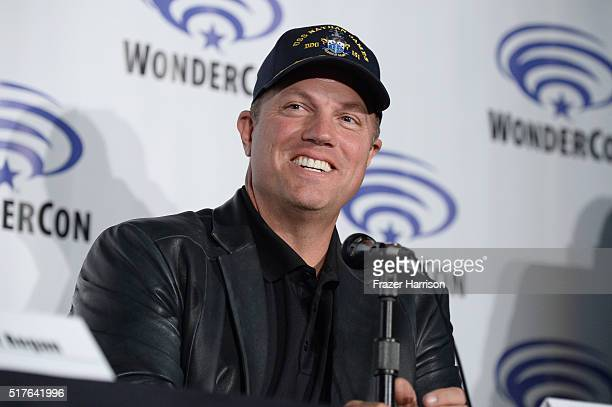 Actor Adam Baldwin speaks on 'The Last Ship' panel TNT at Wondercon 2016 at Los Angeles Convention Center on March 26 2016 in Los Angeles California...