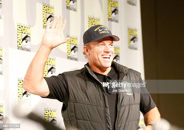 Actor Adam Baldwin speaks onstage at 'The Last Ship' panel during TNT at ComicCon International San Diego 2015 on July 9 2015 in San Diego California...