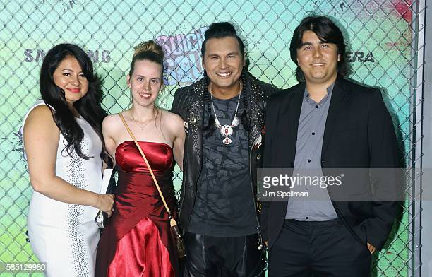 Actor Adam Beach and family attend the 'Suicide Squad' world premiere at The Beacon Theatre on August 1 2016 in New York City