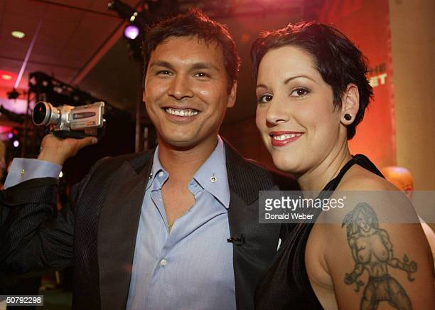 Actor Adam Beach and his wife Tara Mason Beach pose during the 24th Annual Genie Awards at the Metro Convention Centre May 1 2004 in Toronto Ontario...
