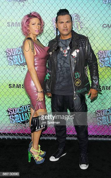 Actor Adam Beach and Leah Gibson attend the 'Suicide Squad' world premiere at The Beacon Theatre on August 1 2016 in New York City