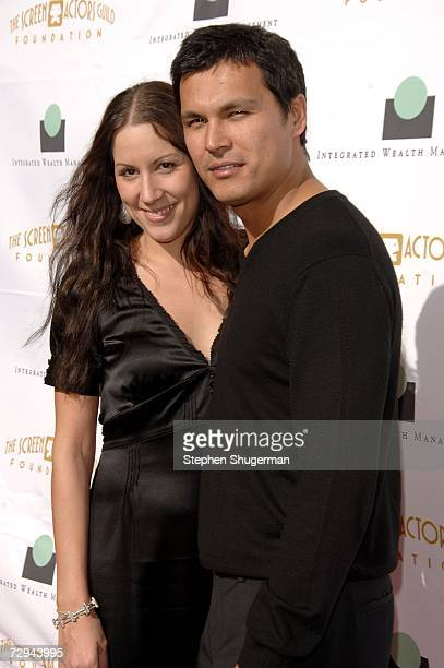 Actor Adam Beach and wife Tara Mason arrive at 'Tea in the Desert' benefiting the Screen Actors Guild Foundation and honoring the SAG Foundation's...