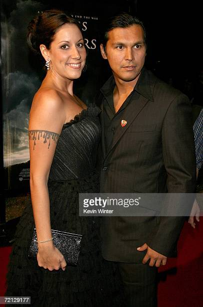 Actor Adam Beach and wife Tara Mason arrive at the Paramount Pictures premiere of Flags Of Our Fathers held at the Academy of Motion Picture Arts and...