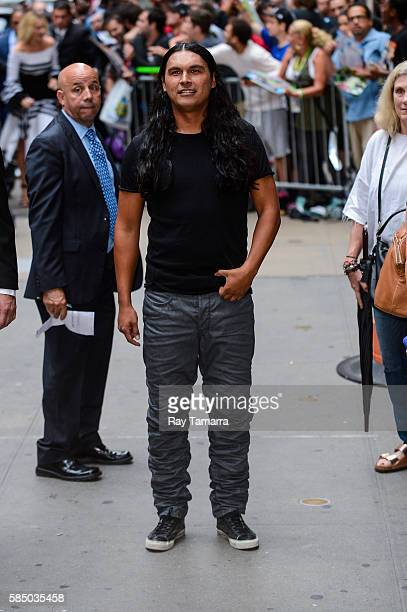 Actor Adam Beach leaves the 'Good Morning America' taping at the ABC Times Square Studios on August 01 2016 in New York City