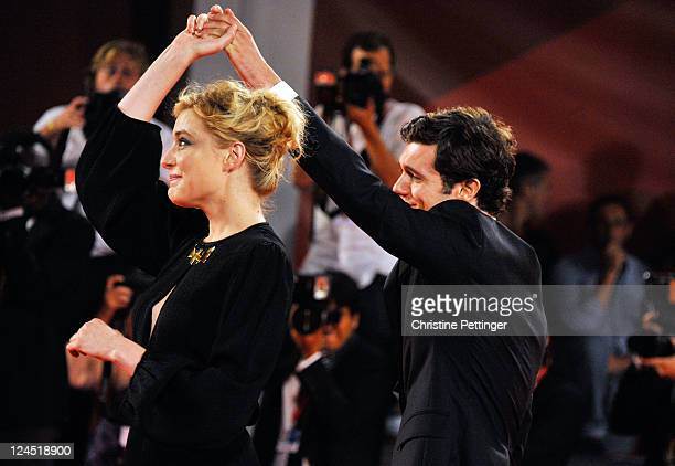 Actor Adam Brody and actress Greta Gerwig attend the Damsels In Distress premiere and closing ceremony during the 68th Venice Film Festival at...