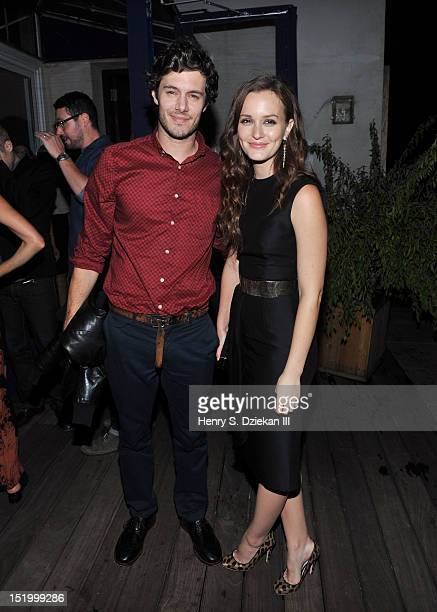 Actor Adam Brody and actress Leighton Meester attend the after party for The Cinema Society with The Hollywood Reporter Samsung Galaxy S III...