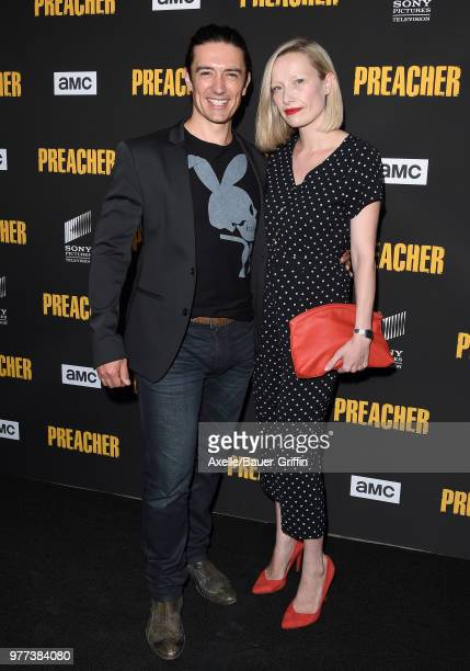 Actor Adam Croasdell and guest arrive at AMC's 'Preacher' Season 3 Premiere Party at The Hearth and Hound on June 14 2018 in Los Angeles California