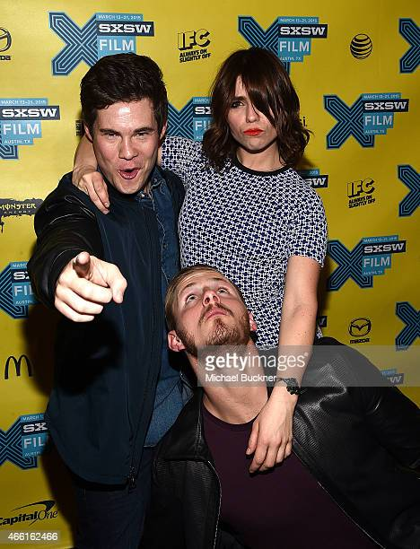 Actor Adam Devine actor Alexander Ludwig and actress Angela Trimbur attend the premiere of The Final Girls during the 2015 SXSW Music Film...