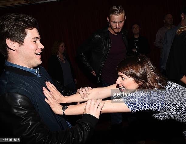 Actor Adam Devine and actress Angela Trimbur attend the premiere of The Final Girls during the 2015 SXSW Music Film Interactive Festival at The...