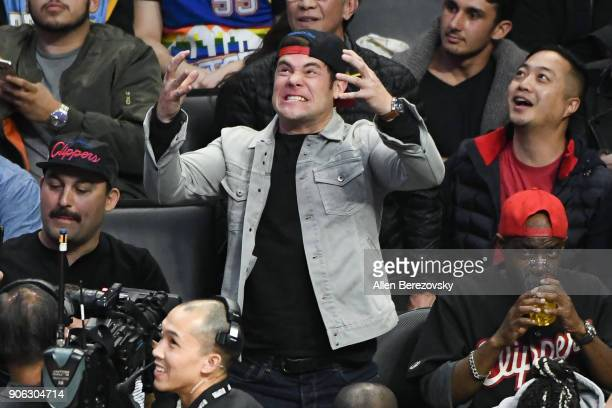 Actor Adam DeVine attends a basketball game between the Los Angeles Clippers and the Denver Nuggets at Staples Center on January 17 2018 in Los...