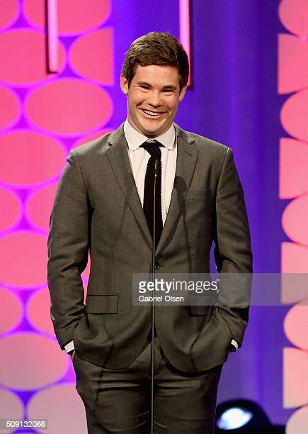 Actor Adam Devine speaks onstage at AARP's 15th Annual Movies For Grownups Awards at the Beverly Wilshire Four Seasons Hotel on February 8 2016 in...