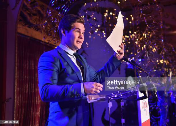 Actor Adam DeVine speaks onstage at the Biden Courage Awards Presented by It's On Us at the Russian Tea Room on April 18, 2018 in New York City.