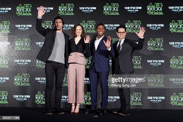Actor Adam Driver actress Daisy Ridley actor John Boyega and director JJ Abrams attend the press conference for 'Star Wars The Force Awakens' at the...