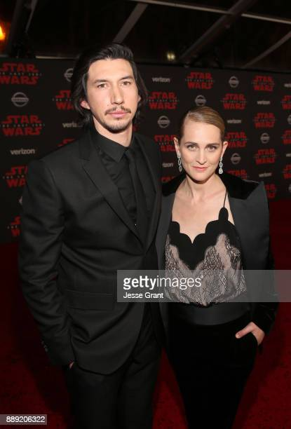 Actor Adam Driver and Joanne Tucker at the world premiere of Lucasfilm's Star Wars The Last Jedi at The Shrine Auditorium on December 9 2017 in Los...