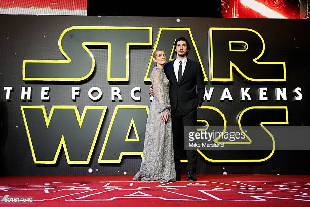 Actor Adam Driver and Joanne Tucker attend the European Premiere of Star Wars The Force Awakens at Leicester Square on December 16 2015 in London...