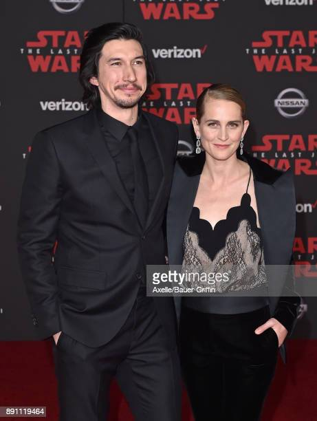 Actor Adam Driver and Joanne Tucker attend the Los Angeles premiere of 'Star Wars The Last Jedi' at The Shrine Auditorium on December 9 2017 in Los...