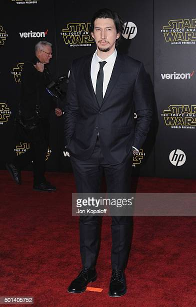 Actor Adam Driver arrives at the Los Angeles Premiere Star Wars The Force Awakens on December 14 2015 in Hollywood California