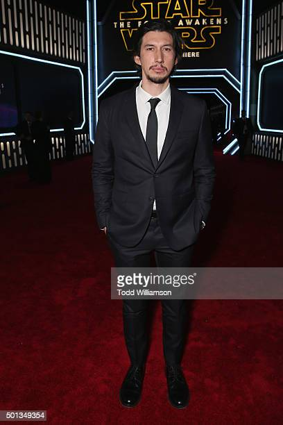 Actor Adam Driver attends the Premiere of Walt Disney Pictures and Lucasfilm's Star Wars The Force Awakens on December 14 2015 in Hollywood California