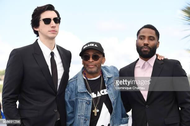Actor Adam Driver director Spike Lee and John David Washington attends the photocall for BlacKkKlansman during the 71st annual Cannes Film Festival...
