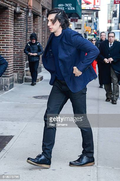 Actor Adam Driver enters 'The Late Show With Stephen Colbert' at Ed Sullivan Theater on March 29 2016 in New York City