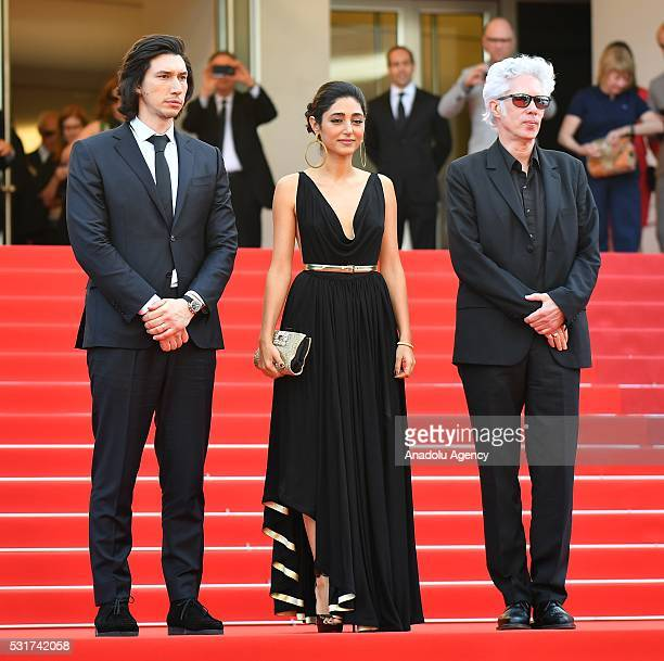 US actor Adam Driver IranFrench actress Golshifteh Farahani and US director Jim Jarmusch leave after the screening of the film 'Paterson' at the 69th...