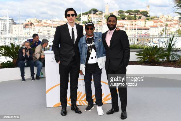US actor Adam Driver US director Spike Lee and US actor John David Washington pose on May 15 2018 during a photocall for the film BlacKkKlansman at...
