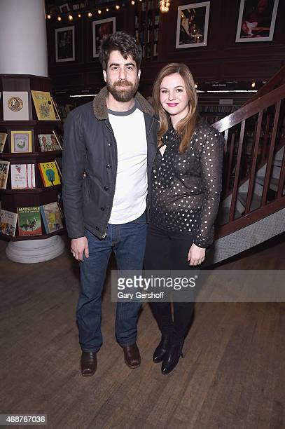 Actor Adam Goldberg and actress/writer Amber Tamblyn attend the Amber Tamblyn 'Dark Sparkler' Book Release Party at Housing Works Bookstore Cafe on...