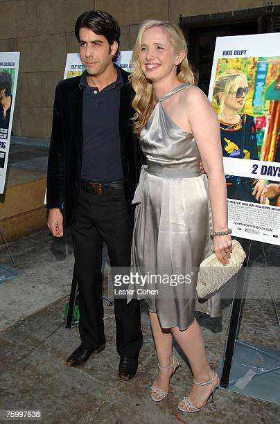Actor Adam Goldberg and director/writer Julie Delpy arrive to the 2 Days in Paris Los Angeles premiere at the Egyptian Theater on August 6 2007 in...