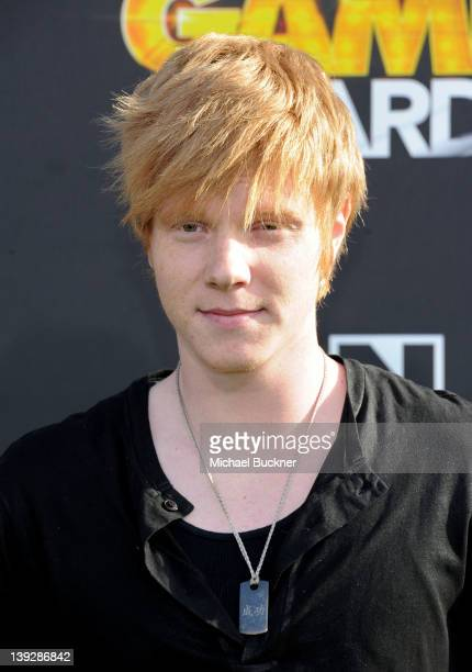 Actor Adam Hicks arrives at the 2012 Cartoon Network Hall of Game Awards at Barker Hangar on February 18 2012 in Santa Monica California...