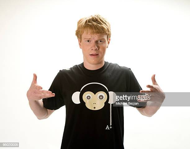 Actor Adam Hicks poses at Adam Hicks TShirt Launch Photo Shoot on December 22 2009 in Los Angeles California
