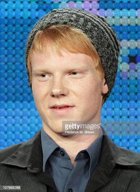 Actor Adam Hicks speaks at Disney ABC Television Group's TCA 'Winter Press Tour' Panels at The Langham Hotel on January 10 2011 in Pasadena California