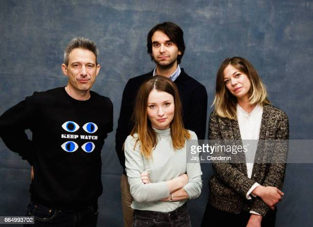 Actor Adam Horowitz actress Emily Browning director Alex Ross Perry and actress Analeigh Tipton from the film Golden Exits are photographed at the...
