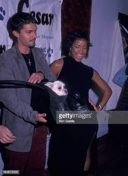 Actor Adam LaVorgna and Miss USA 2002 Shauntay Hinton attend the Animal Fair Magazine's Third Annual Canine Comedy to Benefit Stray from the Heart on...