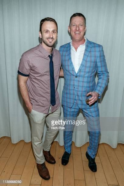 Actor Adam McArthur and Peter Housley attend Indochino Los Angeles Spring/Summer '19 Launch Party at SkyBar at the Mondrian Los Angeles on March 13...