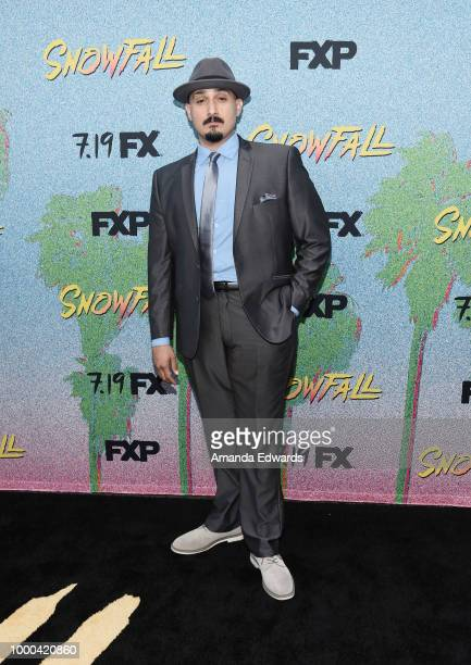 Actor Adam Mendoza arrives at the premiere of FX's 'Snowfall' Season 2 at the Regal Cinemas LA LIVE Stadium 14 on July 16 2018 in Los Angeles...