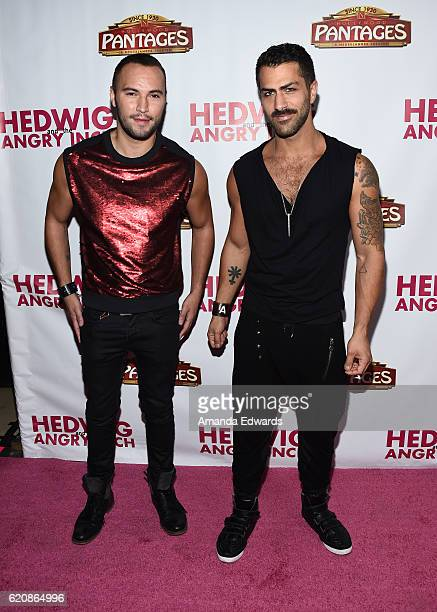 Actor Adam Ramzi and Adrian Anchondo arrive at Opening Night of 'Hedwig and The Angry Inch' at the Pantages Theatre on November 2 2016 in Hollywood...