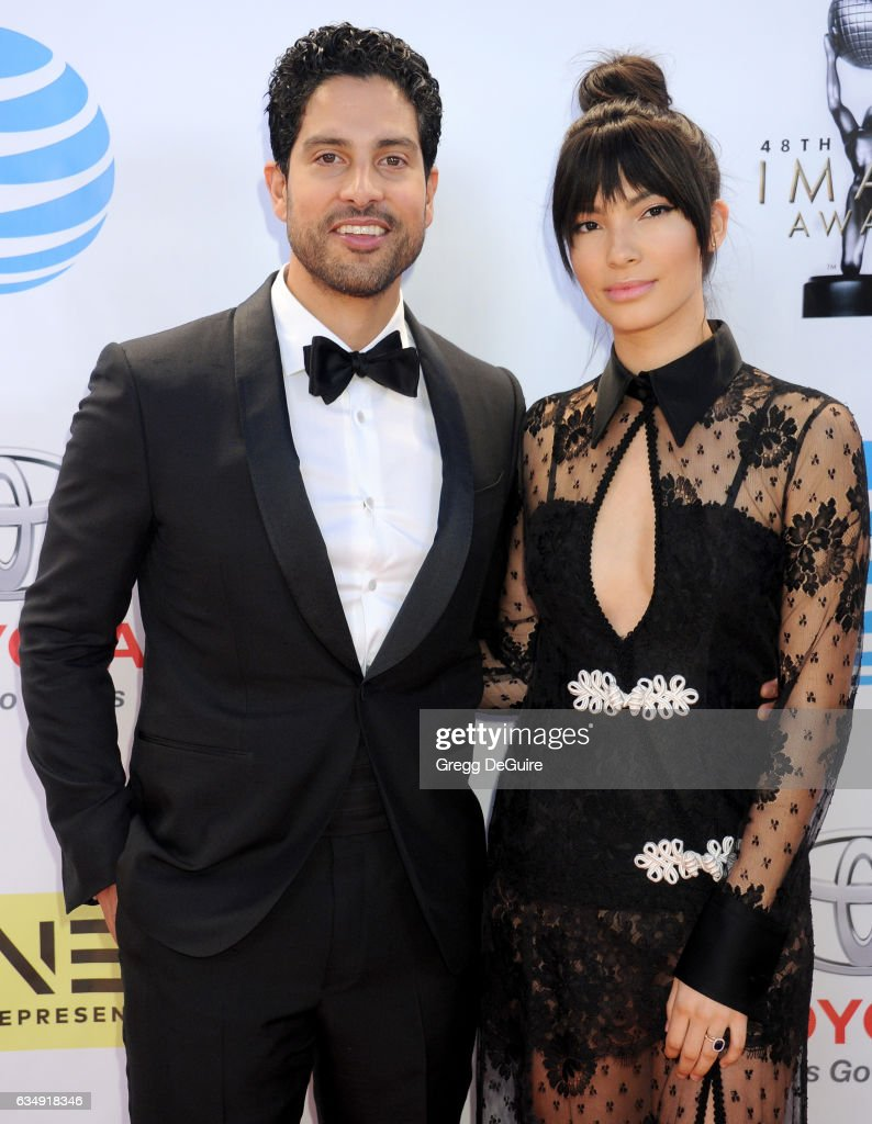 Actor Adam Rodriguez and wife Grace Gail arrive at the 48th NAACP Image Awards at Pasadena Civic Auditorium on February 11, 2017 in Pasadena, California.