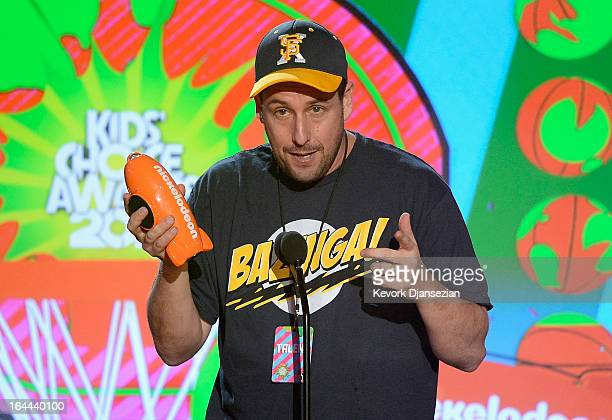 Actor Adam Sandler accepts Favorite Voice from an Animated Movie award for 'Hotel Transylvania' onstage during Nickelodeon's 26th Annual Kids' Choice...