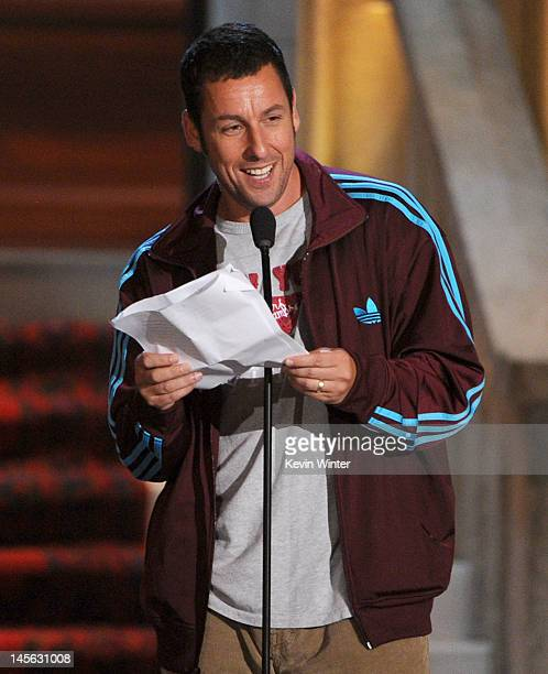 Actor Adam Sandler accepts the Brass Balls award onstage during Spike TV's 6th Annual 'Guys Choice Awards' at Sony Pictures Studios on June 2 2012 in...