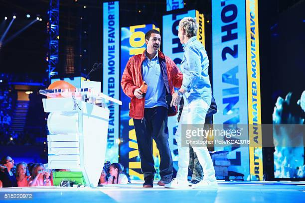Actor Adam Sandler accepts the Favorite Animated Movie Award for 'Hotel Transylvania 2' from TV personality Ellen DeGeneres onstage during...