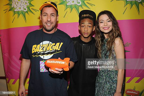 Actor Adam Sandler actor Jaden Smith and actress Miranda Cosgrove attend Nickelodeon's 26th Annual Kids' Choice Awards at USC Galen Center on March...