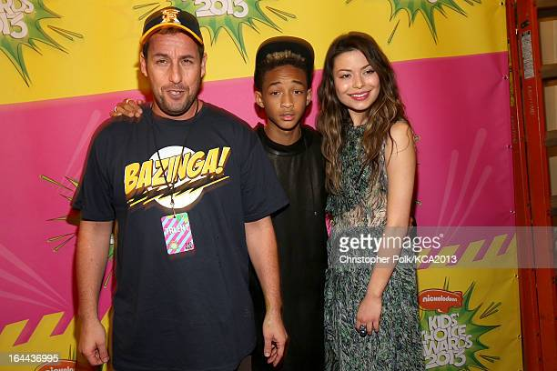 Actor Adam Sandler actor/rapper Jaden Smith and actress Miranda Cosgrove seen backstage at Nickelodeon's 26th Annual Kids' Choice Awards at USC Galen...