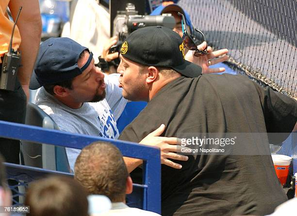 Actor Adam Sandler and Actor Kevin James appear at Shea Stadium to promote their movie I Now Pronounce You Chuck and Larry in Queens New York
