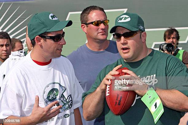 Actor Adam Sandler and Actor Kevin James in action on the Jets' sideline during the Patriots' 2417 win over the New York Jets at the Meadowlands Eat...