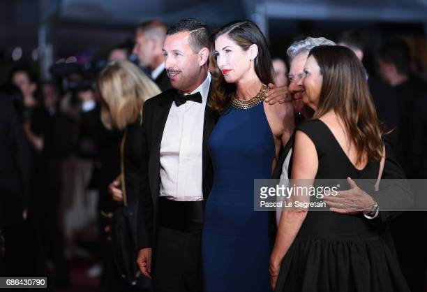 Actor Adam Sandler and his wife Jackie Sandler and Dustin Hoffman with his wife Lisa Hoffman depart the 'The Meyerowitz Stories' screening during the...