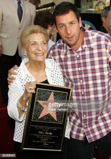 Actor Adam Sandler and Mary Anne Farley Chris Farley's mother attend the Hollywood Walk of Fame Star ceremony for actor Chris Farley who was honored...