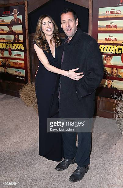 Actor Adam Sandler and wife actress Jackie Sandler attend the Los Angeles premiere of Netflix's The Ridiculous 6 at AMC Universal City Walk on...